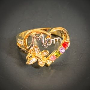 Mom Heart Ring GIFT Sz 10 Butterfly Gem Stone NEW
